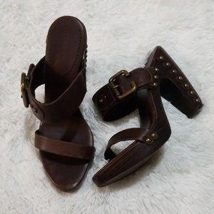 BCBGMaxAzria Brown Leather Wooden Heels